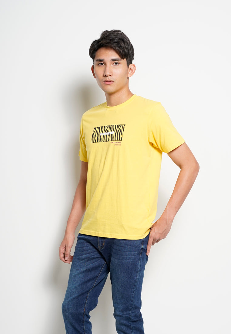 Men Graphic Short Sleeve T-Shirt - Yellow