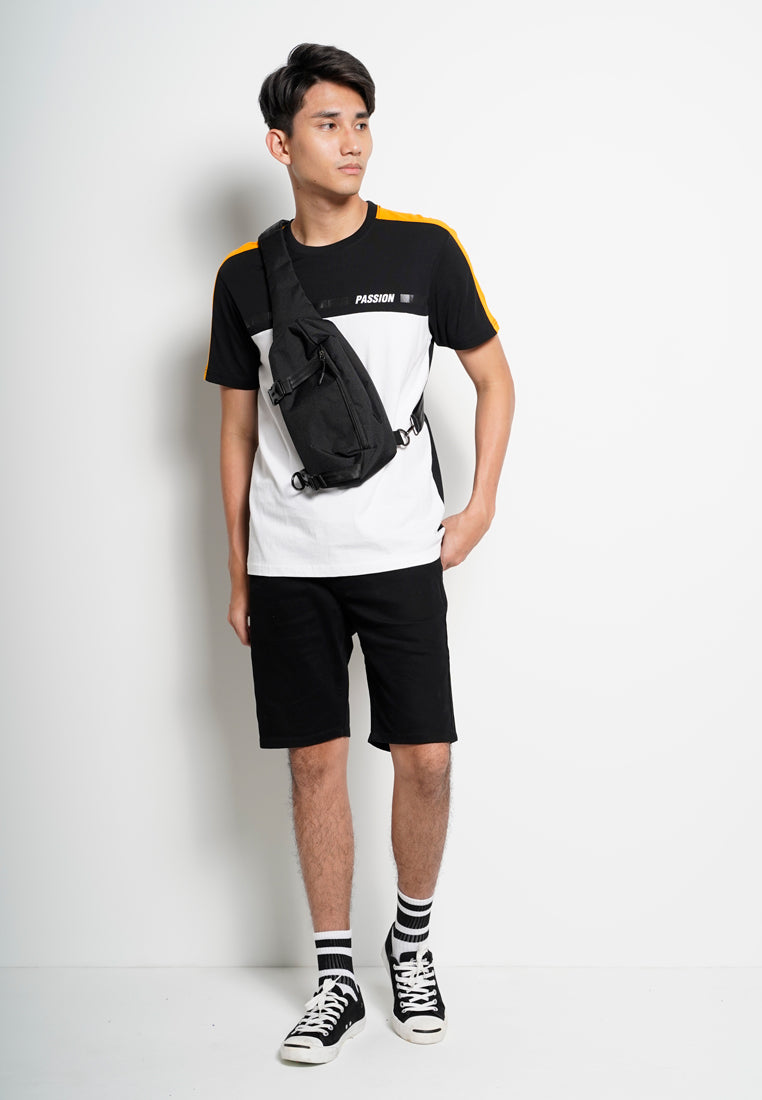 Men Cut And Sew Short Sleeve Tee - Black