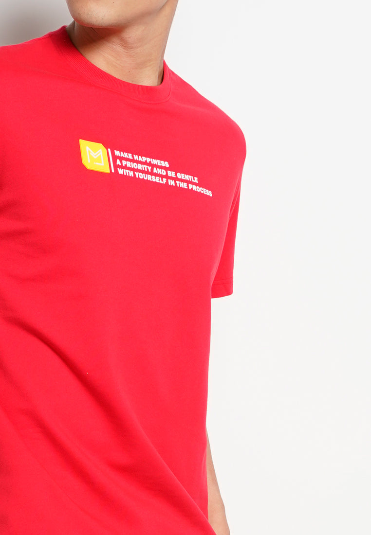 Men Short Sleeve Fashion Tee - Red - XGH20H2648