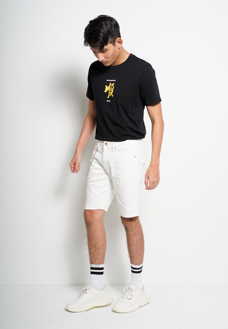 Men Denim Shorts Jeans - White