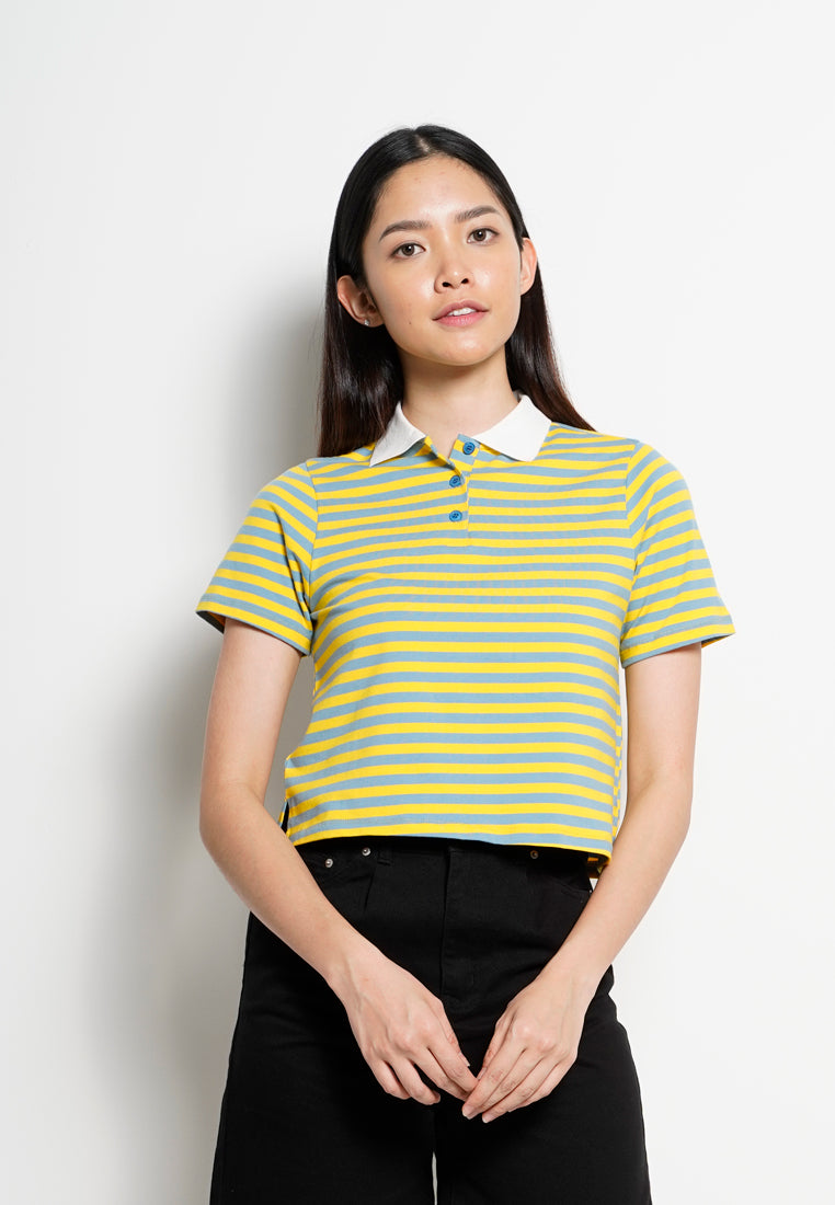 Women Crop Top Polo Tee Short Sleeve - Yellow - YCS1F2679