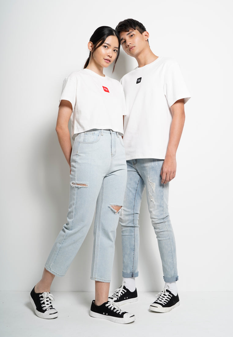 Women Crop Fashion Tee [Valentine] - White