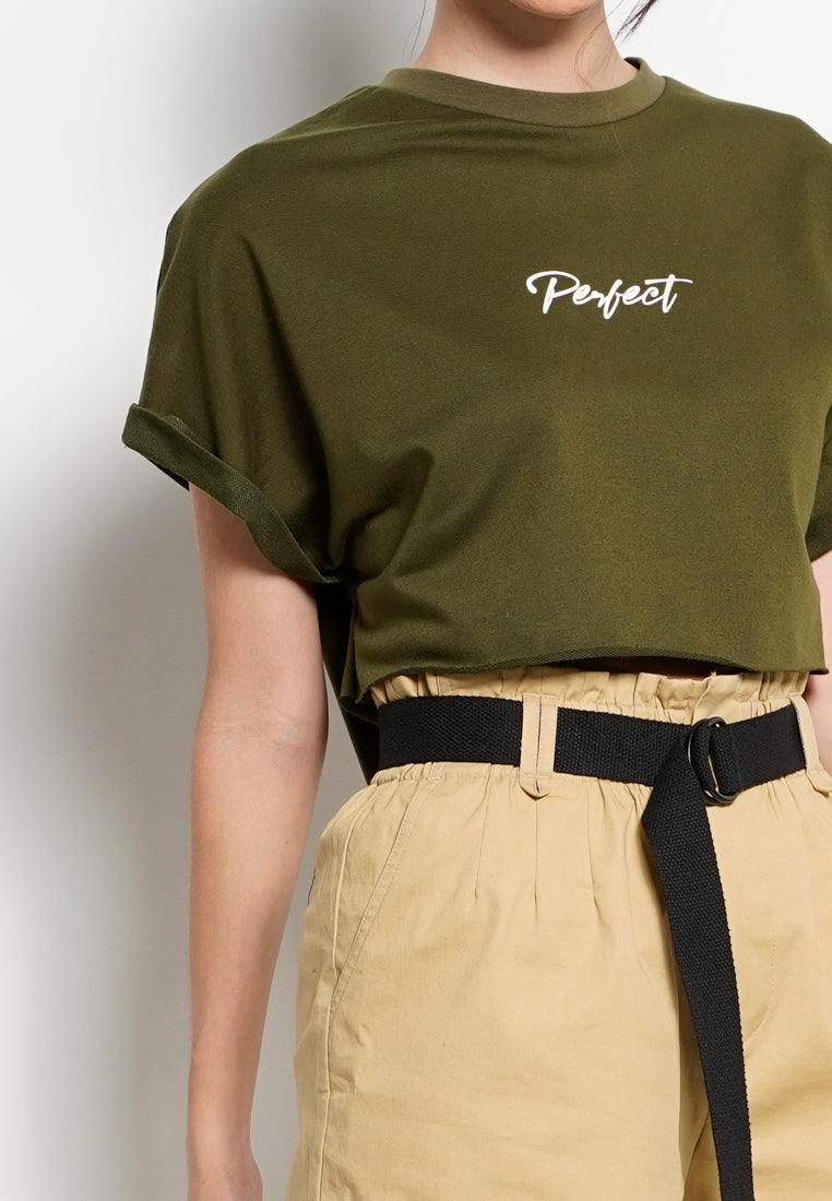Women Crop Top Tee - Army Green - YCH20F2656