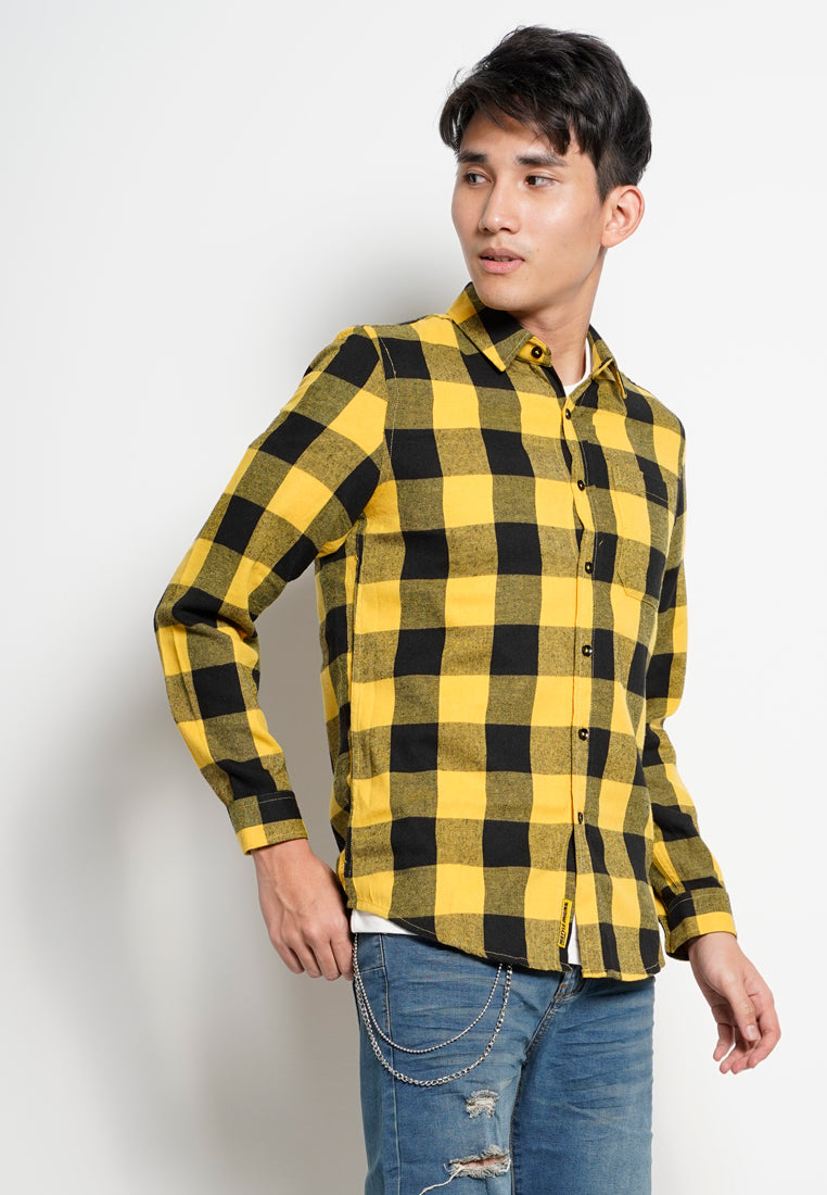 Men Checkered Long Sleeve Shirt - Yellow - ETS1H2778