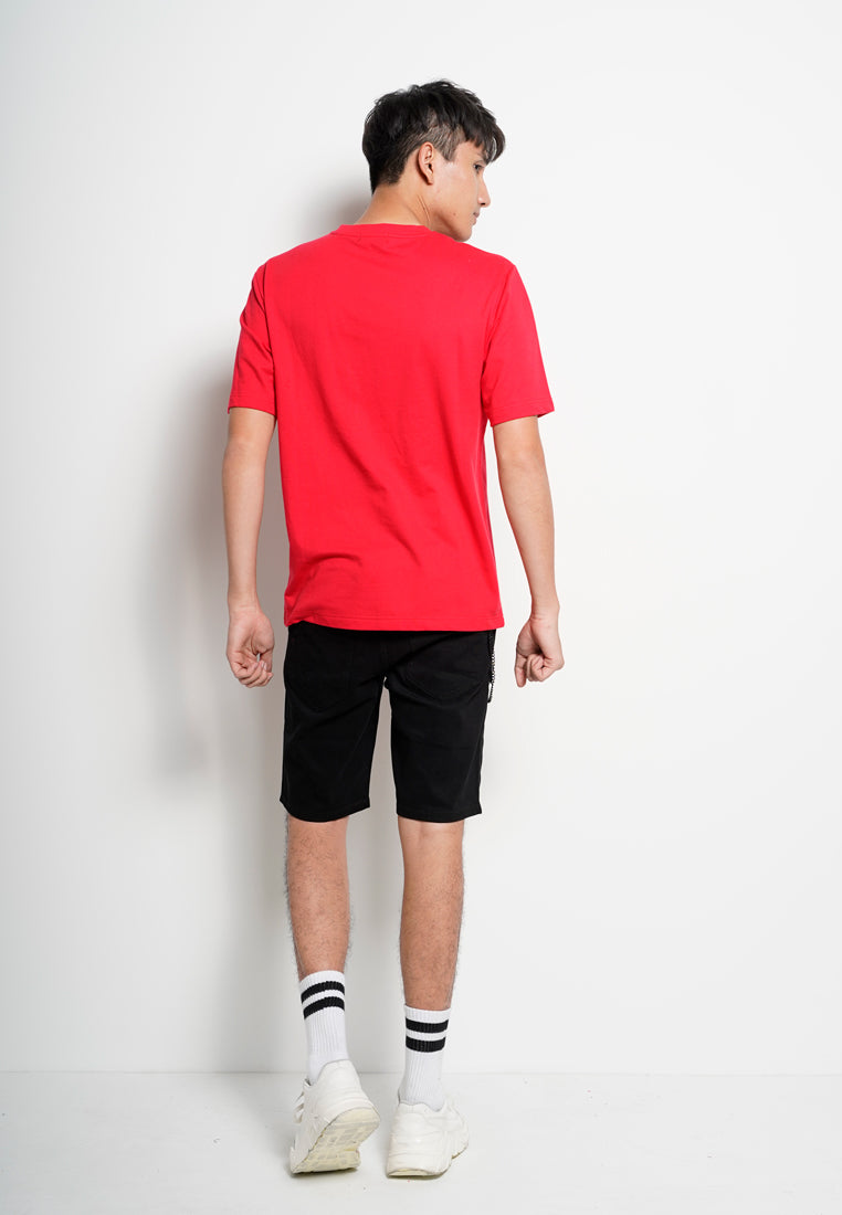 Men Oversized Short Sleeve Slogan Fashion Tee - Red - XGS1H2723