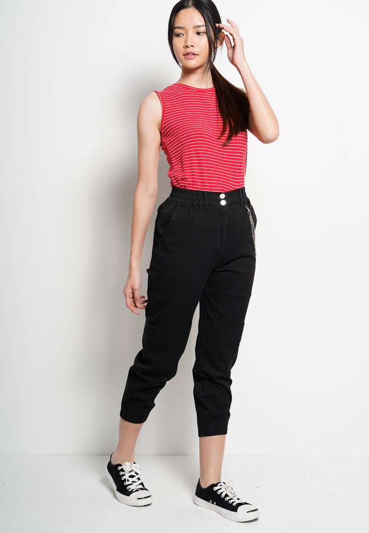 Women Long Pants Cargo  - Black