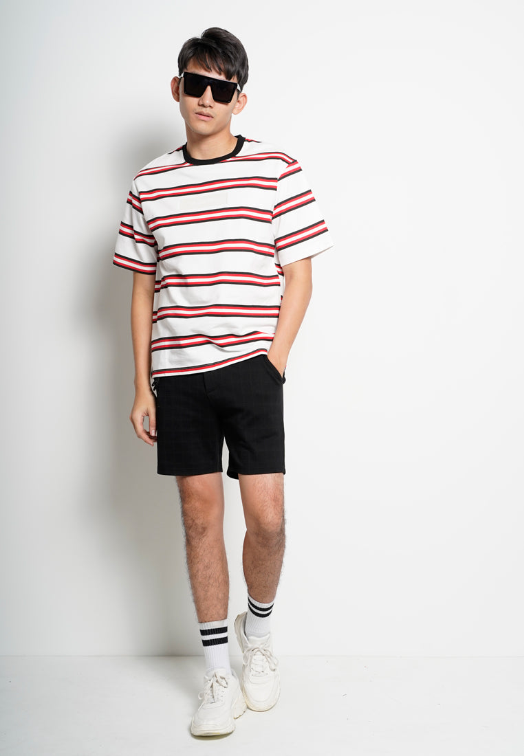 Men Oversize Stripe Short Sleeve Tee - Red - XGH20H2687
