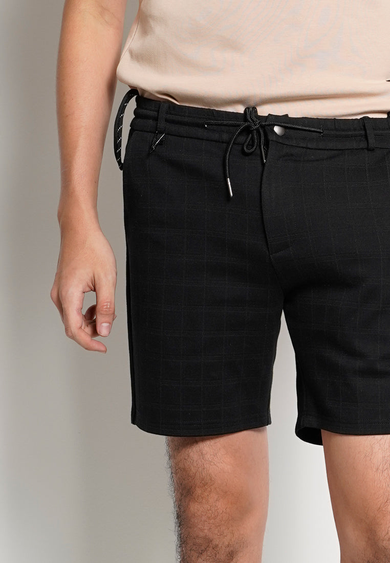 Men Checked Short Pants With Drawstring - Black - MDS1H2743