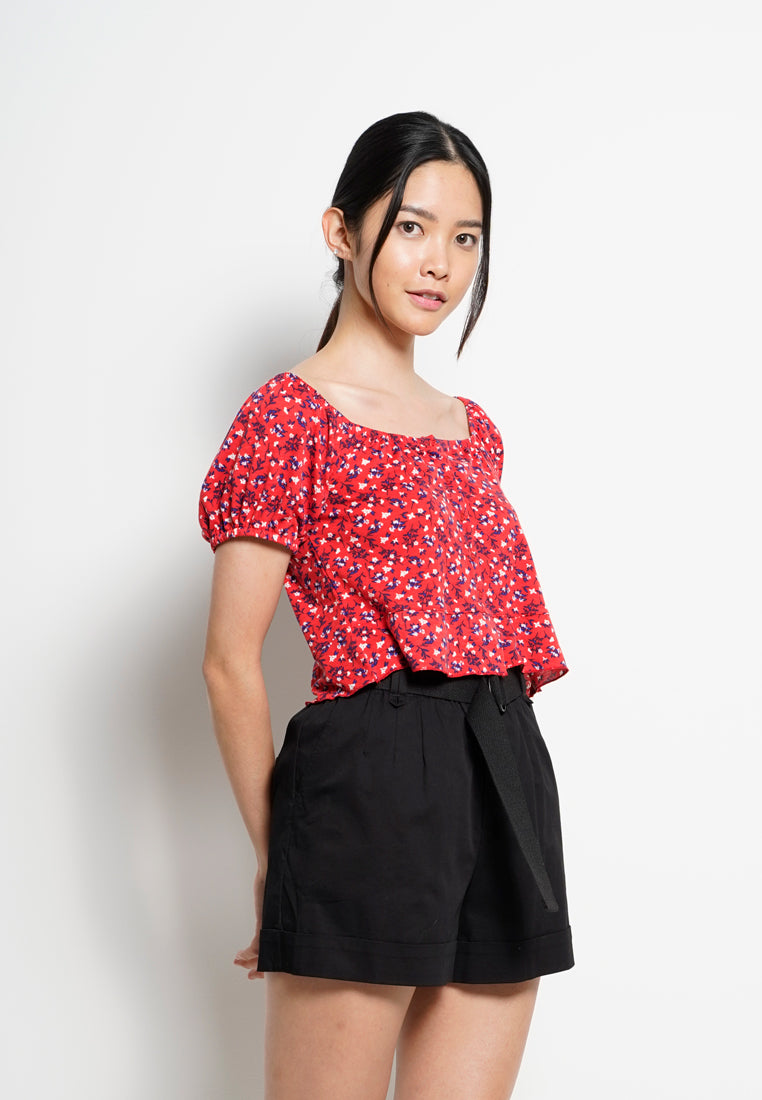 Women Floral Short Sleeve Blouse - Red