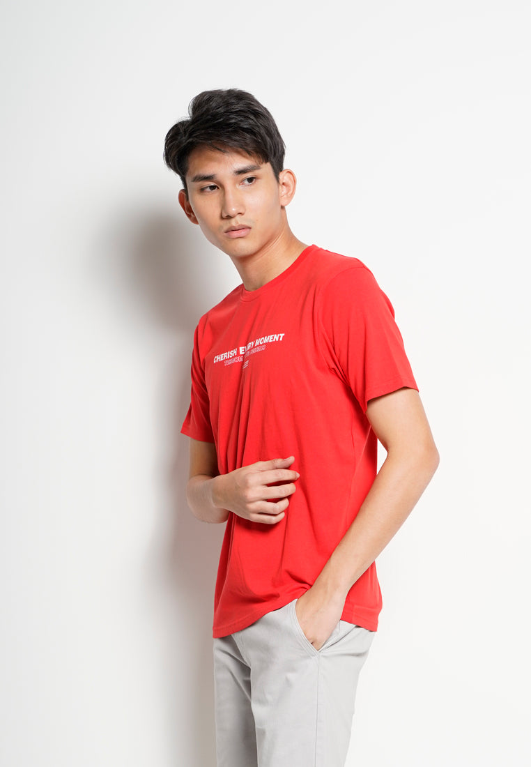 Men Slogan Short Sleeve T-Shirt - Red - RFH20H2596