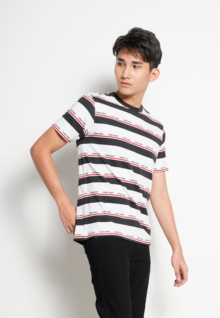 Men Stripe Short Sleeve T-Shirt - Black - RFH20H2595
