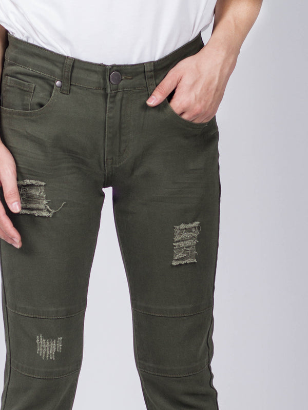 Slim Fit Long Jeans - Dark Green