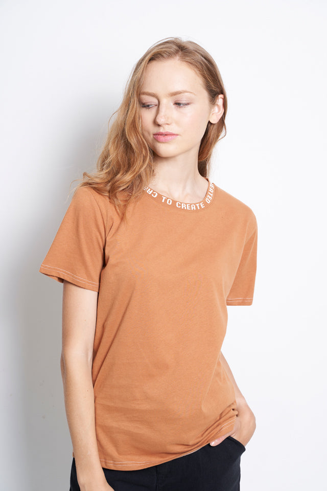 Women Slogan Neckline Short Sleeve Blouse - Brown