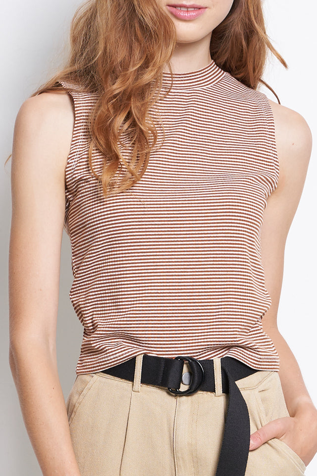 Women Sleeveless Stripe Ribbed Top - Brown - YCF9F1751