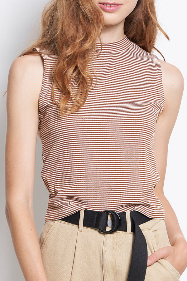 Sleeveless Stripe Ribbed Top - Brown