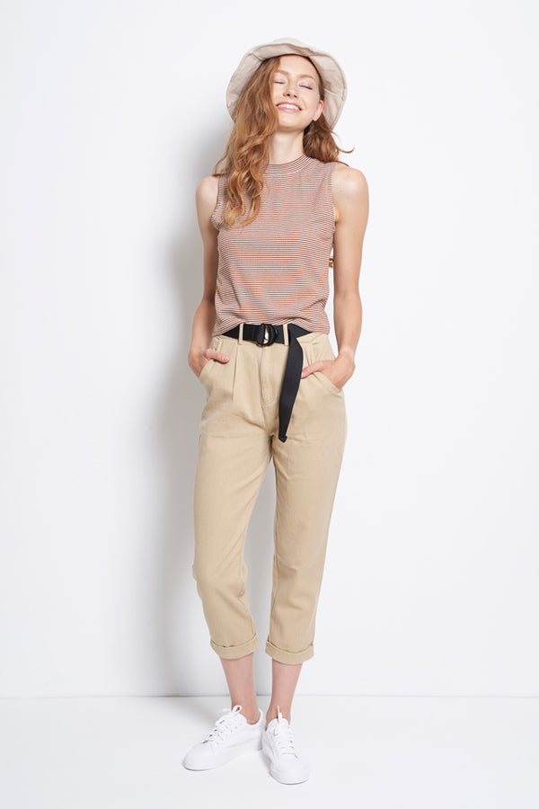 Women Tapered Pants With Belt - Khaki