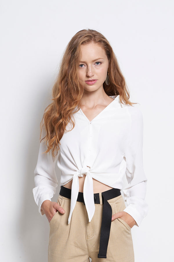 Women Tied Front Long Sleeve Blouse - White