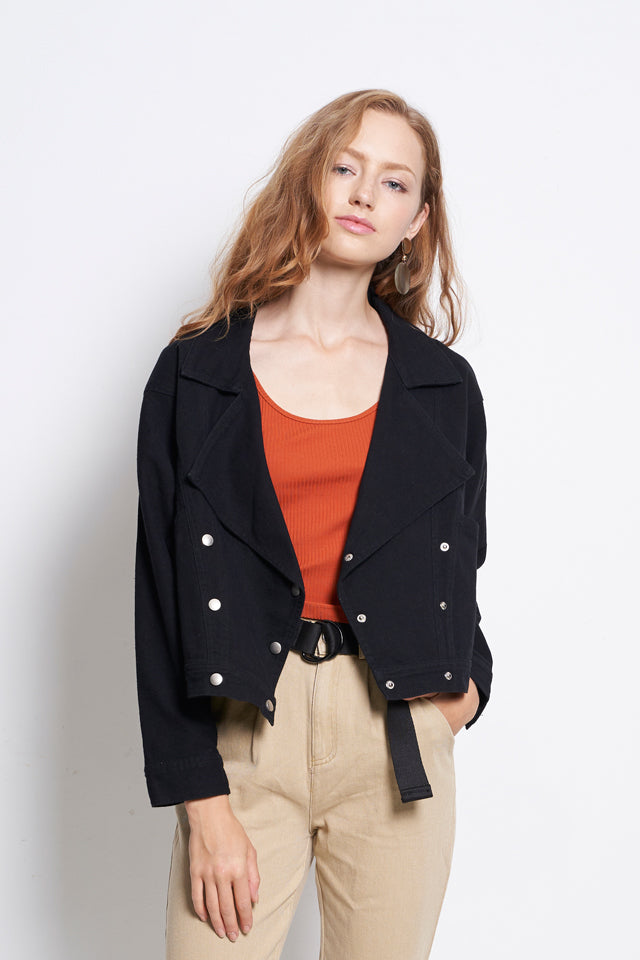 Women Oversize Girlfriend Denim Jacket - Black