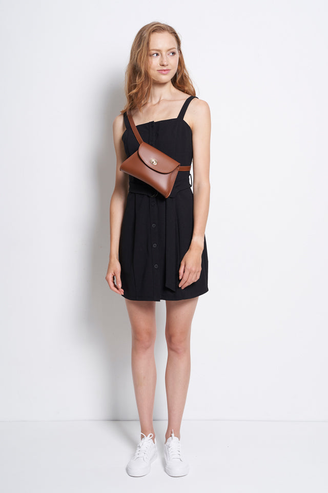 Strap Button Down Dress with Belt - Black