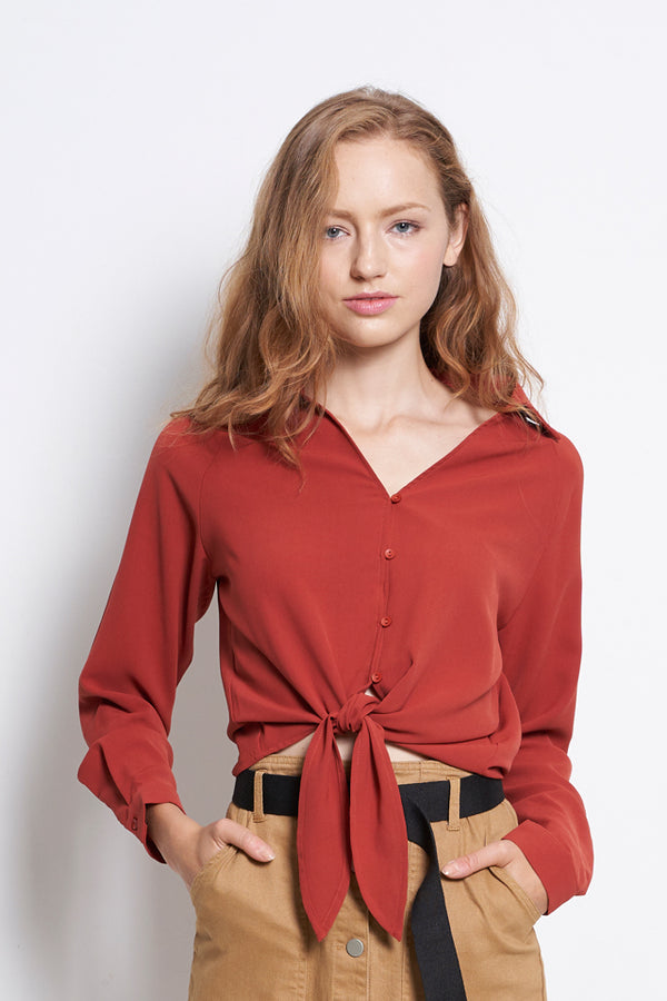 Women Tied Front Long Sleeve Blouse - Dark Orange