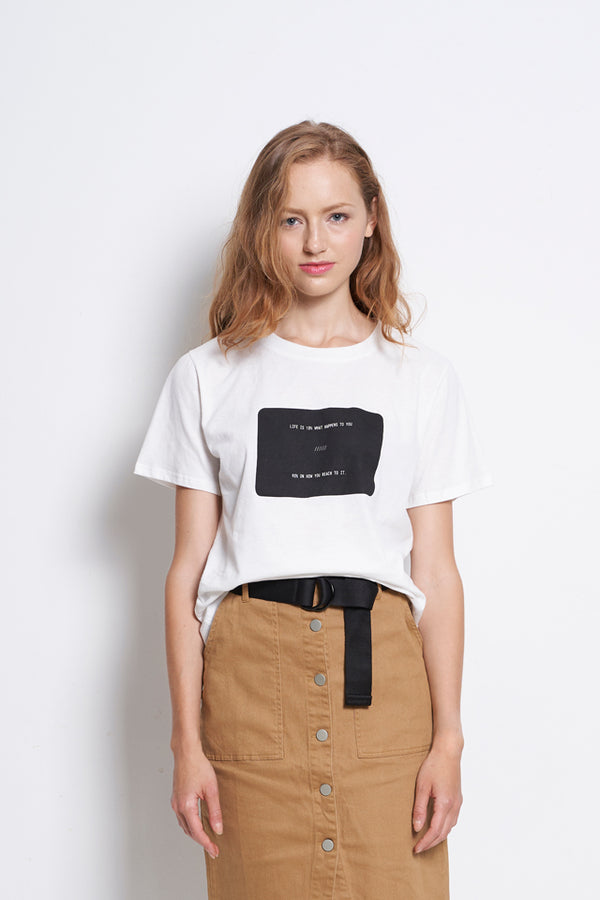 Women Slogan Short Sleeve Fashion Tee - White