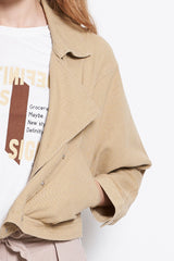 Women Oversize Girlfriend Denim Jacket - Khaki