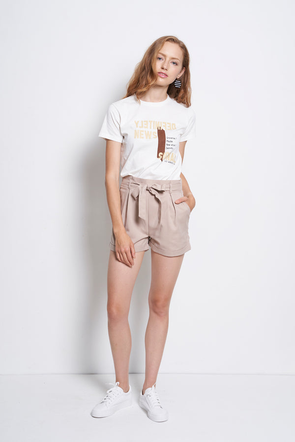 Women Tied Front Mid Rise Short Pants  - Khaki