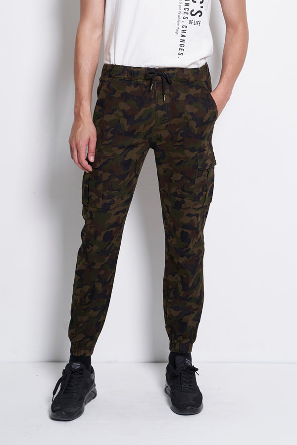 Camouflage Long Cargo Pants - Brown