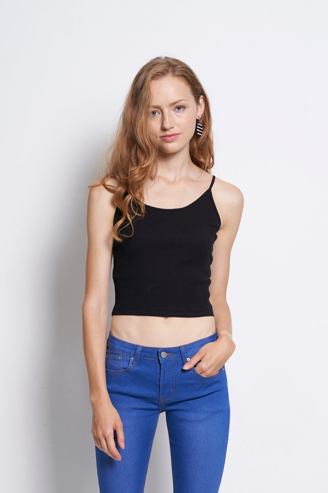 Women Ribbed Camisole Top - Black