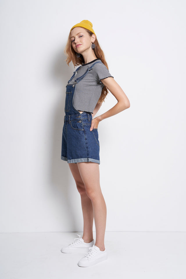 Short Denim Dungaree - Blue