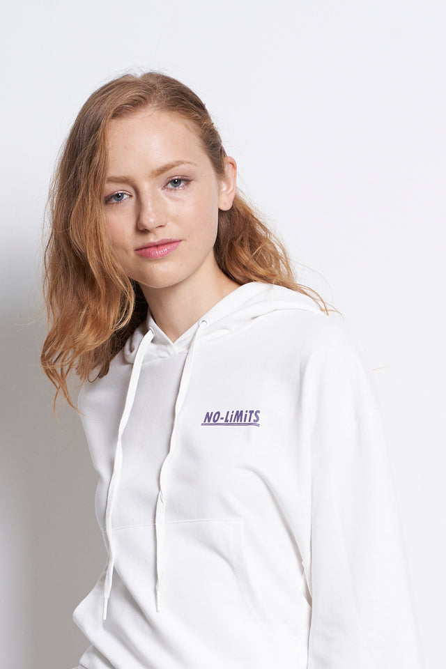 Oversize Long Sleeve Hoodie Slogan Sweatshirt - White