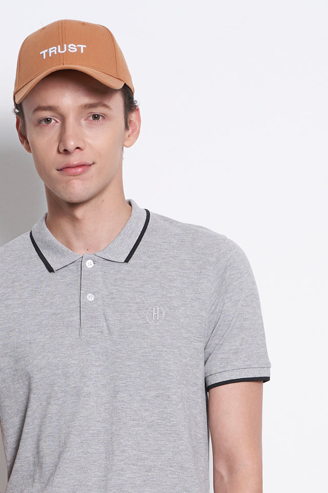 Short Sleeve Polo Tee With Embroidery - Grey
