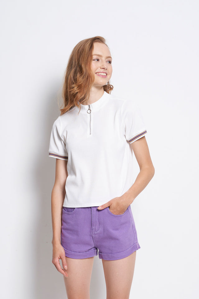Ribbed Short Sleeve Blouse With Front Zip - White