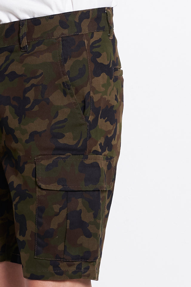 Men Camouflage Short Cargo Pants - Brown - KQF9H2001