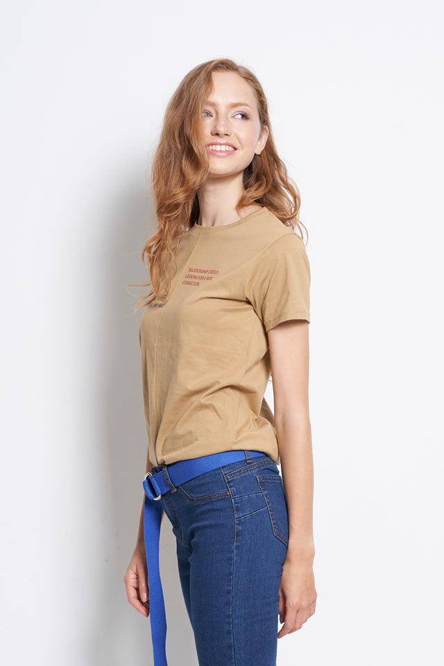 Casual Short Sleeve Slogan Tee - Khaki