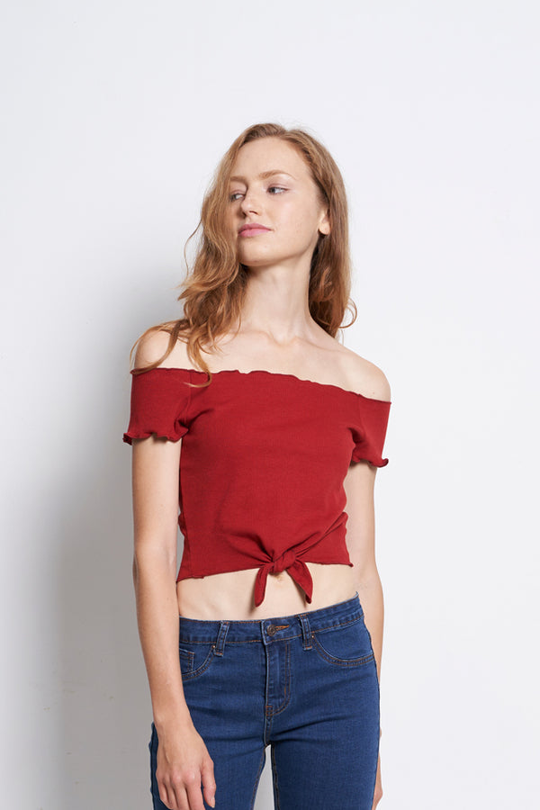 Women Off Shoulder Blouse With Tied Front - Maroon