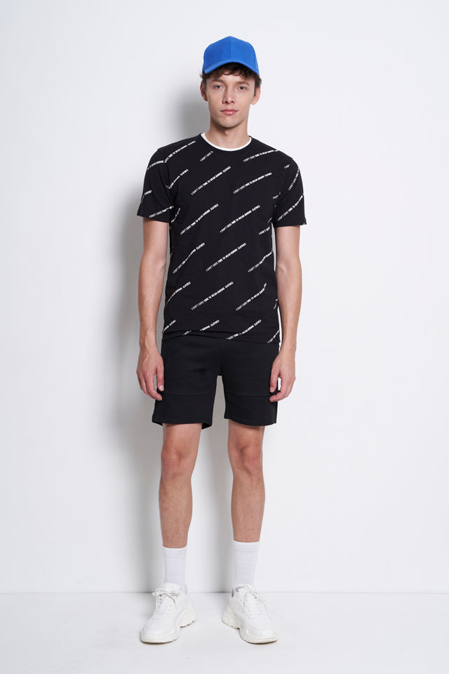 Casual Short Sleeve Graphic Tee - Black