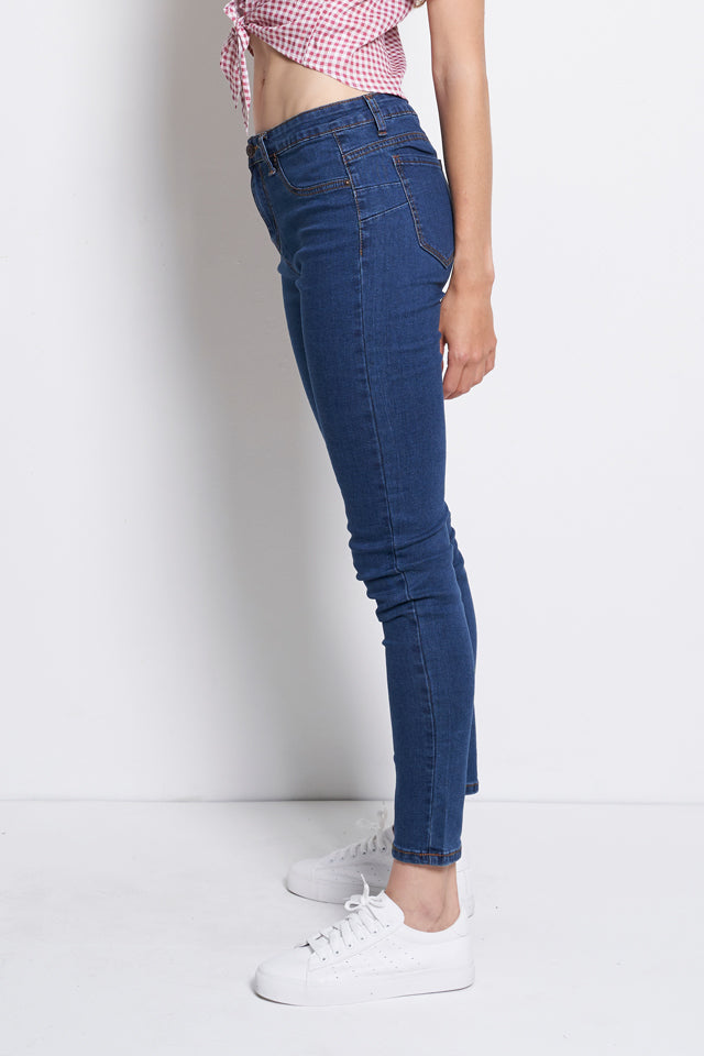Slim Fit Mid Rise Long Jeans - Blue