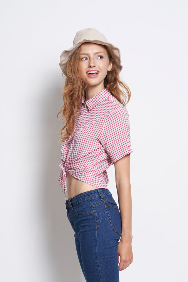 Checked Tied Front Short Sleeve Shirt - Purple Pink