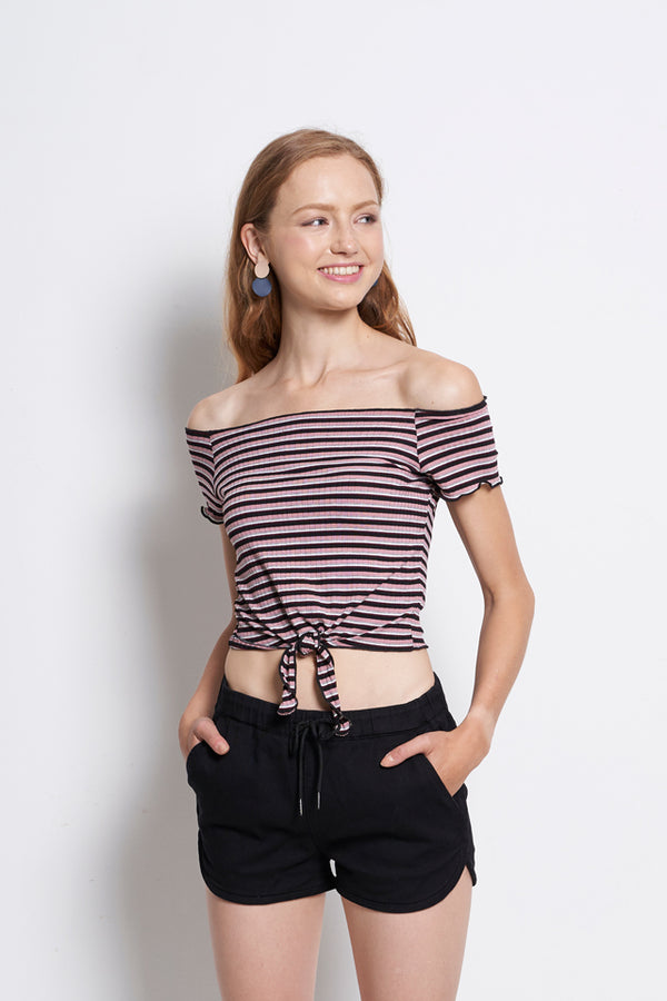 Women Off Shoulder Stripe Blouse With Tied Front - Pink