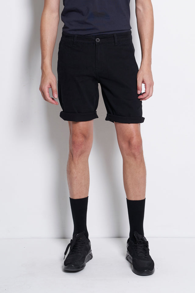 Cotton Short Pants With Pockets - Black