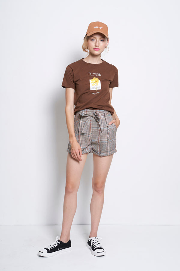 Women Gingham Mid Rise Short Pants  - Brown