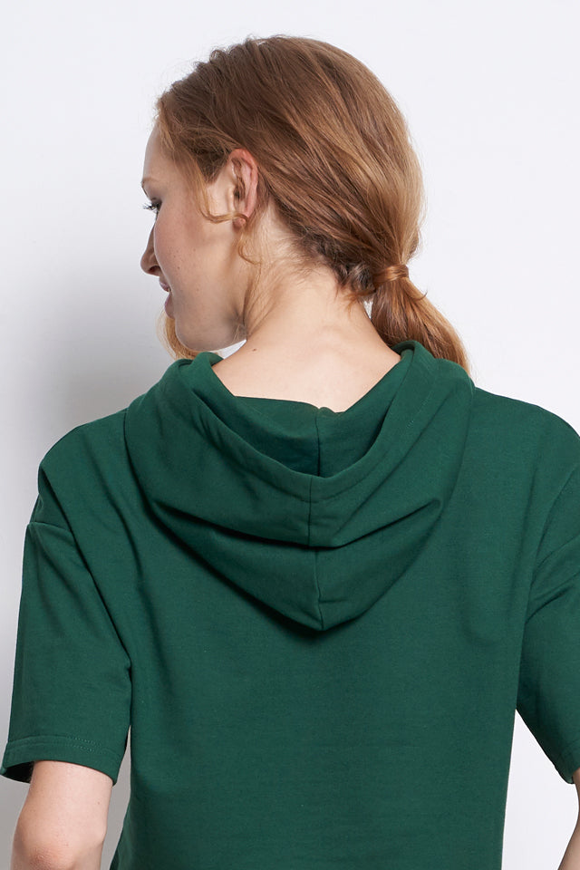 Women Oversize Short Sleeve Hoodie Sweatshirt - Green