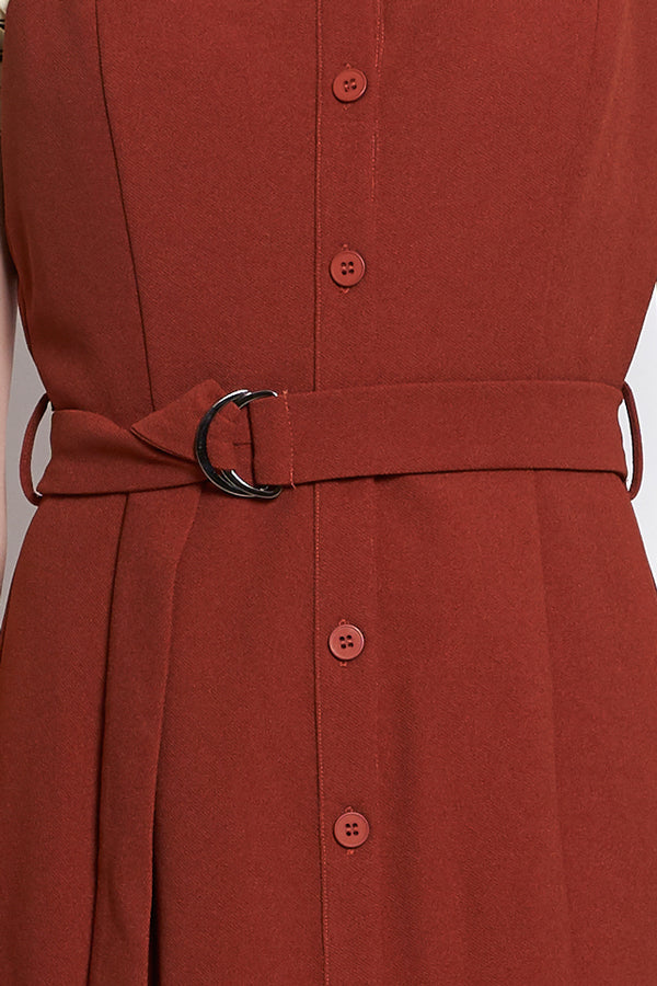 Strap Button Down Dress with Belt - Brown