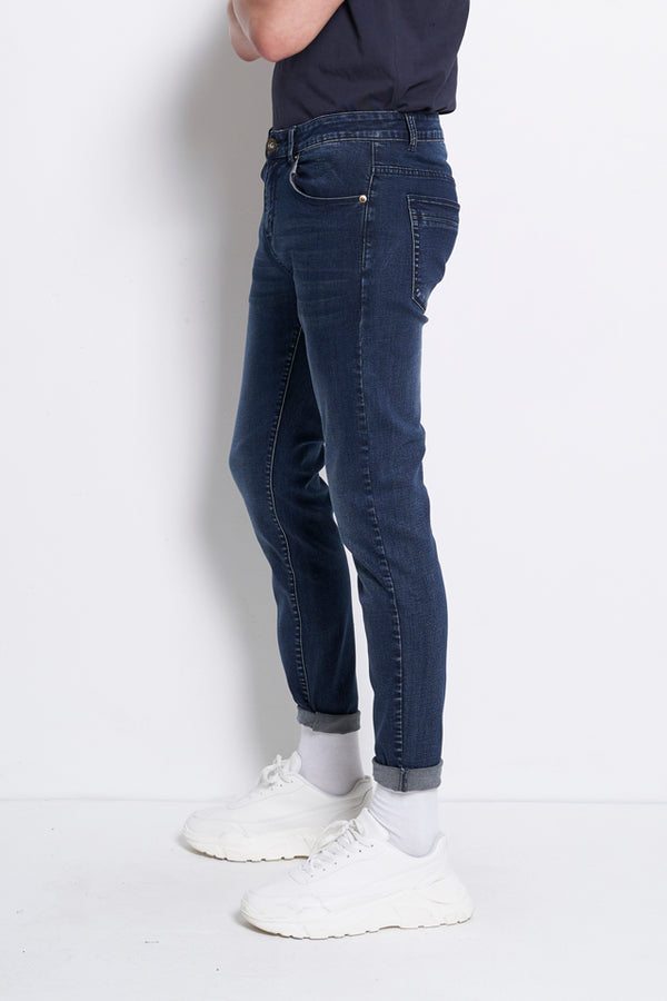 Slim Fit Long Jeans - Dark Blue
