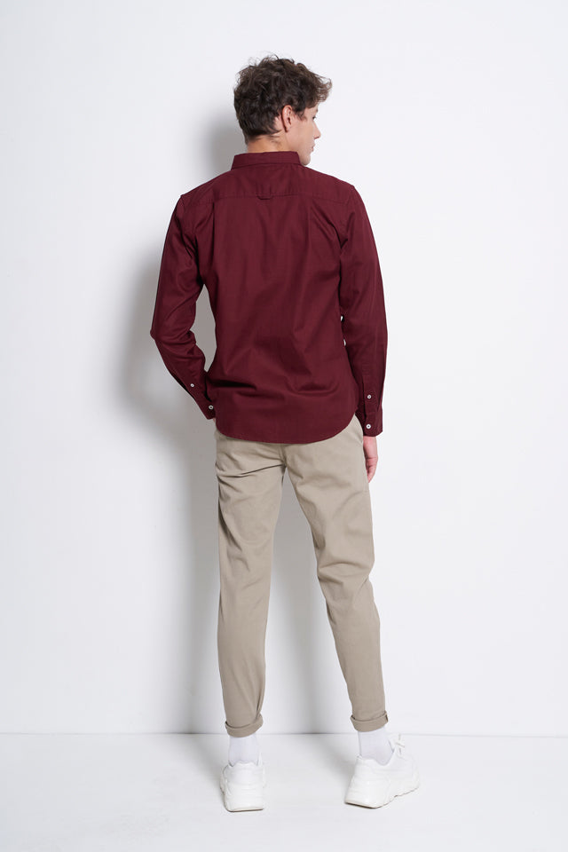 Smart Casual Long Sleeve Shirt - Maroon