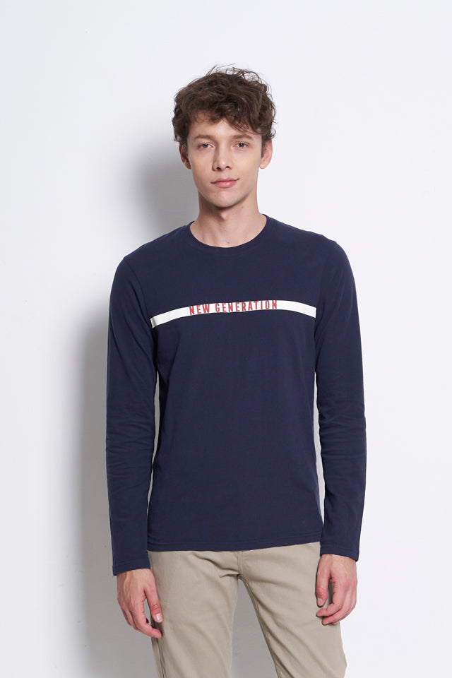 Graphic Long Sleeve T-Shirt - Navy