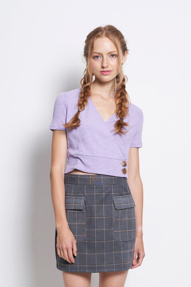Front Overlap Short Sleeve Blouse - Purple
