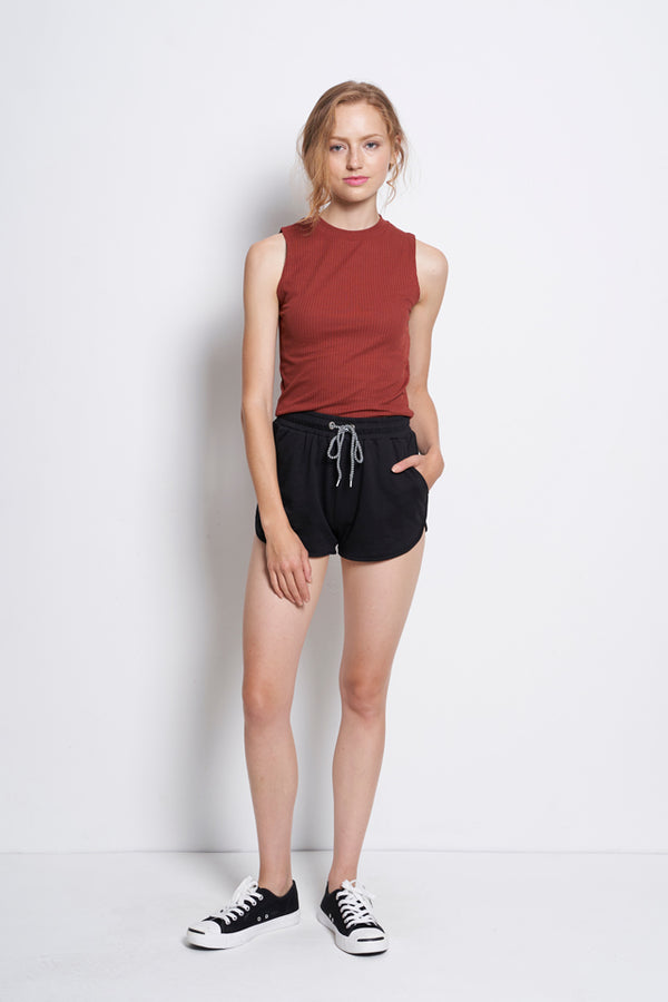 Sleeveless Ribbed Top - Brown