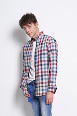 Checked Long Sleeve Shirt - Blue